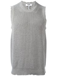 Msgm Knitted Vest Grey