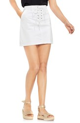 Vince Camuto Lace Up Stretch Cotton Mini Skirt Ultra White