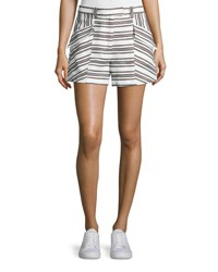 A.L.C. Hamilton Striped Shorts Ivory Black