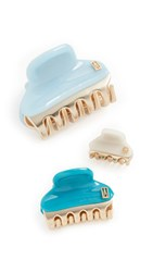 Alexandre De Paris Set Of 3 Hair Clips Cream Turquoise Sky