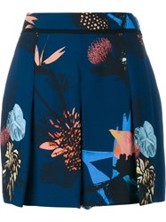 Proenza Schouler Pleated Printed Shorts Blue