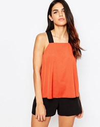 Ax Paris Tunic With Contrast Straps Rust Orange