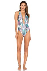 Minkpink Texta Tropical Plunge One Piece Swimsuit Green
