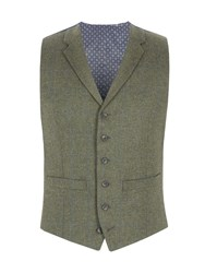 Racing Green Men's Comely Check Waistcoat Olive