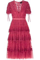 Needle And Thread Tiered Embroidered Tulle Midi Dress Uk6