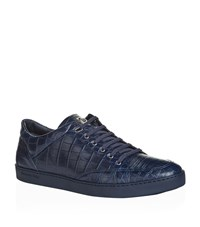 Stefano Ricci Crocodile Skin Sneakers Male Navy