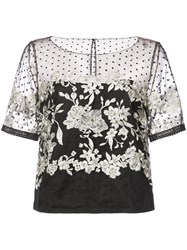 Marchesa Notte Embroidered Tulle Blouse Black