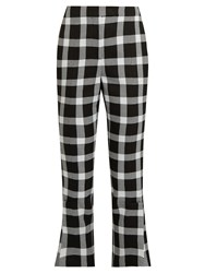 Christopher Kane Checked Wool Blend Cropped Trousers Black White