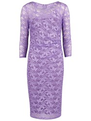 Gina Bacconi Beaded Neck Lace Dress Lilac