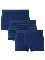John Lewis Dot Stripe Triangle Trunks Pack Of 3 Blue