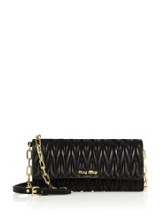 Miu Miu Matelasse Leather Chain Wallet Black