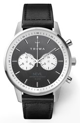 Triwa Slate Nevil Leather Strap Watch 42Mm Black Grey Silver