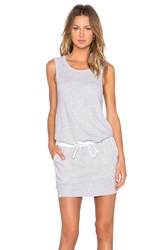 Monrow Linen Basics Drawstring Mini Dress Light Gray