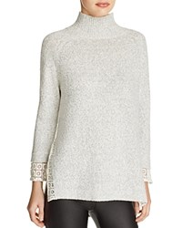 French Connection Lola Lace Trim Mock Neck Sweater Light Grey