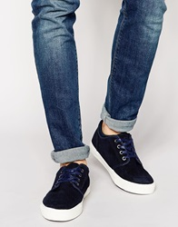 New Look Trainer In Faux Suede Navy