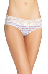 Honeydew Intimates Women's Lace Trim Low Rise Thong Topaz Geo