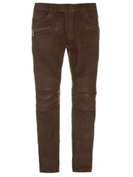 Balmain Biker Leather Panel Denim Jeans Brown