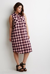Forever 21 Tartan Plaid Maxi Dress Red Indigo