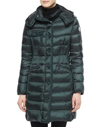 Moncler Hermine Hooded Long Puffer Coat Taupe