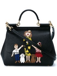 Dolce And Gabbana Family Print Leather Satchel Black