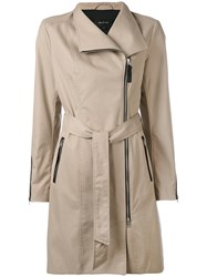 Mackage Zipped Coat Women Cotton Leather Polyester S Nude Neutrals