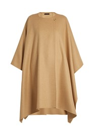 The Row Marcella Wool And Cashmere Blend Cape Tan
