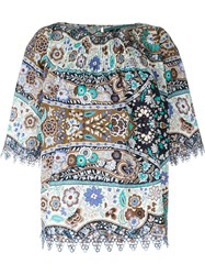 Etro Floral Print Blouse Brown
