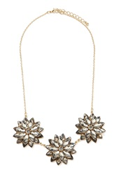 Forever 21 Flower Statement Necklace Grey Gold