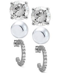 Giani Bernini 3 Pc. Set Cubic Zirconia Stud And Hoop Earrings In Sterling Silver Only At Macy's
