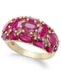 Macy's Certified Ruby 6 Ct. T.W. And Diamond 1 8 Ct. T.W. Dome Ring In 14K Gold Red