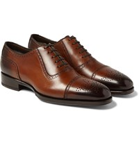 Tom Ford Austin Cap Toe Burnished Leather Oxford Brogues Brown
