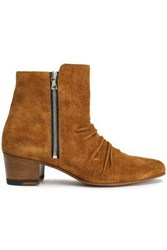 Amiri Woman Gathered Suede Ankle Boots Light Brown