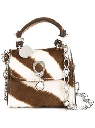 Ermanno Scervino Zebra Pattern Crossbody Bag Brown