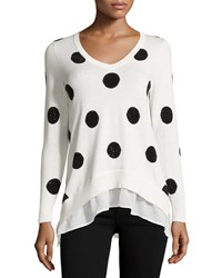 Neiman Marcus Polka Dot Sweater W Rhinestone And Chiffon Ruffle Trim Ivory Tower Black