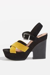 Topshop Layla Suede Strap Heels Yellow
