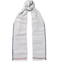 Loro Piana Fringed Contrast Trimmed Cashmere Silk And Hemp Blend Scarf Gray