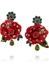 Dolce And Gabbana Gold Plated Swarovski Crystal And Patent Leather Clip Earrings