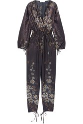 Chloe Exclusive Metallic Striped Floral Print Cotton Blend Jumpsuit Navy