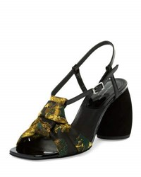 Dries Van Noten Embroidered Round Heel Slingback Sandal Multi Multicolor