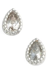 Jules Smith Designs Women's Micro Teardrop Stud Earrings Silver Clear
