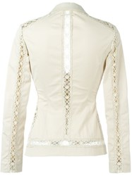 Jean Paul Gaultier Vintage Crochet Trim Blazer Nude And Neutrals
