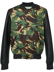 Off White Camouflage Bomber Jacket Black