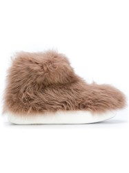 Peter Non Allover Faux Fur Boots Leather Polyester Rubber Brown