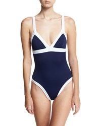 Milly Italian Solid Colorblock Scoop Back One Piece Swimsuit Blue White