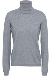 Red Valentino Redvalentino Woman Point D'esprit Trimmed Cashmere And Silk Blend Turtleneck Sweater Gray