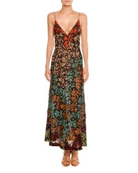 Missoni Embroidered Lace V Neck Sleeveless Gown Multi Black