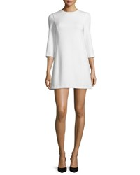 Alice Olivia Gem 3 4 Sleeve Ponte Shift Dress White