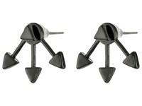 French Connection Triangle Front Back Earrings Hematite Earring Silver