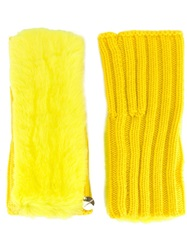 Yves Salomon Ribbed Fingerless Gloves Yellow And Orange