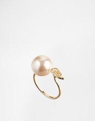Asos Faux Pearl And Wing Ring Cream
